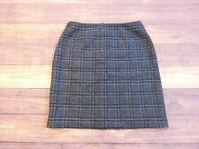 Eddie Bauer womens pencil skirt WOOL Plaid lined zip Gray Black SZ 8 NEW $40MSRP