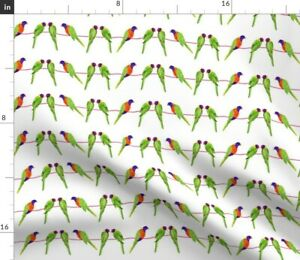 Birds On A Line Down Under Multicolor On White Spoonflower Fabric by the Yard