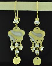 18k solid 2 tone gold  dangling earring with cubic zirconia  3.00 grams