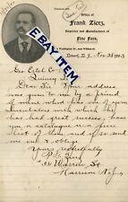 1893 P. Frank Zierz LETTERHEAD Harrison & Newark NEW JERSEY ....... FINE FURS