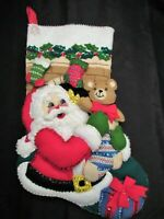 Bucilla Santa w Teddy Bear Felt Christmas Stocking Handmade Finished Kit