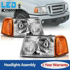 For 2001-2011 Ford Ranger Headlights Replacement Chrome Headlamp Assembly Pair