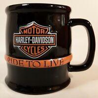 HARLEY DAVIDSON MOTORCYCLES COFFEE CUP ORANGE EMBOSSED RARE RIDE TO LIVE MUG