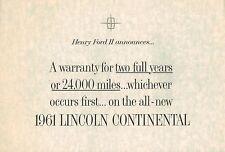1961 LINCOLN CONTINENTAL Warranty Brochure &.......: Henry Ford II.......Scarce!