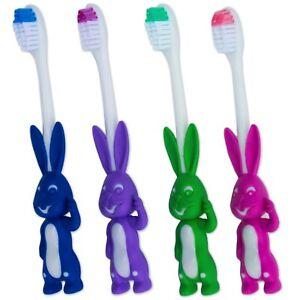 4 x Childrens Toothbrush ~ Rabbit Cute Fun Kids Manual Boys Girls Toddler Set