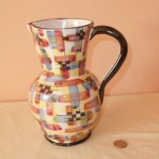 Charming Vtg Pottery Pitcher Numbered & Signed Abstract Geometric Hand Painted