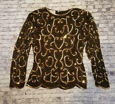 Vintage Stenay Beaded Sequin Top Blouse 100% Silk Black,w/black & gold beads S
