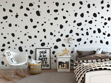 200 Black Dalmatian Dog Spots Polka Dots Stone Shapes Wall Art Stickers Decals