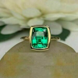 2Ct Emerald Cut Green Emerald Solitaire Engagement Ring 14K Yellow Gold Finish