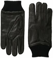 NWT Ben Sherman Men's 100% Leather Glove with Knit Trim Black Size Large L