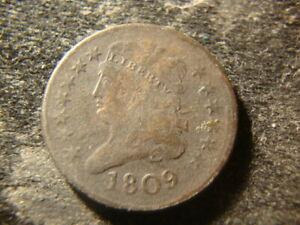1809 VG F Classic Head Half Cent Coin FBZ