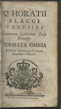 Q. Horatii Flacci Venusini - Poemata Omnia 1752 Tipografia Regia Torino