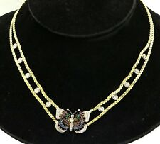 Heavy 14K 2-tone gold 3.82CT VS diamond ruby emerald sapphire butterfly necklace