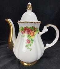 "Large Imperial Japan Design 6 Cup Vintage 11"" Teapot w/ Gold Rose Floral Trim"