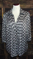 East 5th Womens Plus Size 1X Black Silver Print 3/4 Sleeve Button Down Top