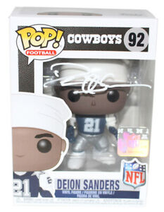 Deion Sanders Autographed/Signed Dallas Cowboys NFL Funko Pop #92 BAS 25072