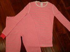 NEW Mini Boden Girls Pink White Stripe Long Johns 2 pc Pajamas sz 10Y