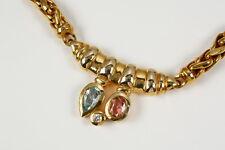 Schweres Collier 585 Gelbgold mit Blautopas, rosa Turmalin und Brillant 0,11 Ct.
