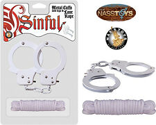 Metal Handcuffs with Keys & Love Rope White NassToys Sinful Adult Cuffs Sex Toys