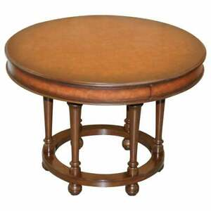 RRP £11,000 RALPH LAUREN CENTRE OCCASIONAL SMALL DINING TABLE BROWN LEATHER