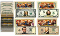 Declaration of Independence 2-Sided Colorized Bills *Set of ALL 4 - $1/$2/$5/$10