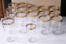 16-glass set 8 oz. & 4 oz. vintage gold edge glasses barware mid-century tumbler