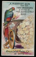 Trade Card - Dozier-Weyl Cracker Co., St. Louis - Parrot Gun - Fire Crackers