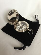 Nickel Finish Dalvey Style Hunters Pocket Compass With Black Velvet Pouch - Gift