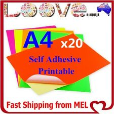 20x A4 Fluo Colour Self Adhesive Sticker Paper Sheet Label Laser Inkjet Print