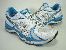 ASICS WOMEN'S GEL KAYANO 18 RUNNING SNEAKERS WHITE/ISLAND BLUE/BLACK US SZ 6.5 D
