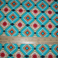 Cotton Fabric Native American Spirit Motif Argyle on Turquoise Indian   BTY