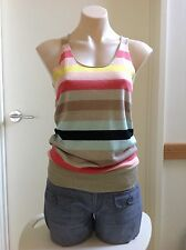 Brown Sugar Knitted Top Stripes Gold Trim Tank Top Pastel Colours Women's New