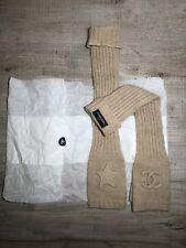 Chanel Genuine Beige RARE Long Signature FingerLess Gloves 100% Cashmere NEW!