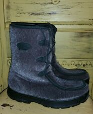 LL BEAN GRAY FAUX FUR MUKLUK BOOTS WINTER BOOTS 7 M WOOL SHERPA LINED vegan