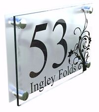 Modern House Number Plaques Acrylic Wall Door Sign Flowers Name Plate Dec4-2BS