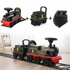 Ride-on Train with 16 Curved Tracks + Train Carriage + 16 Straight Tracks, 2-Se