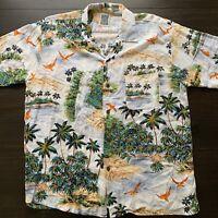 VTG Ocean Current Mens Hawaiian All Over Print Island 100% Rayon Shirt Sz L