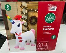 Christmas Unicorn Winter Wonder Lane 6 ft LED Inflatable Blow Up NIB
