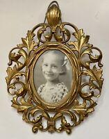 Antique Rococo Bronze Gilt Photo & Frame Louie XVI Oval Easel Cast Metal Ornate