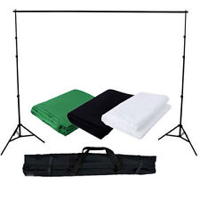 Photography Studio Background Stand + 3 Muslin Cotton Backdrop Black Green White