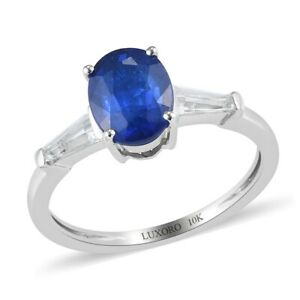 10K White Gold Blue Spinel Topaz Solitaire Ring Jewelry Gift Ct 5
