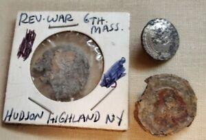 Three American Revolution Buttons - British 29th Regiment of Foot, 6th Mass. Etc