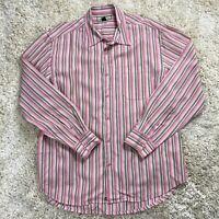 Tommy Bahama Men's XL Pink Striped Tencel Long Sleeve Casual Shirt
