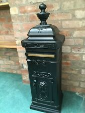 CHARMING ORNAMENTAL SAFE & SECURE BLACK TALL ALUMINIUM POST BOX