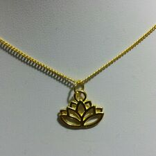 NEW Lotus Hollow Flower Pendant Charm Gold Plated Necklace Chain Women's Jewelry