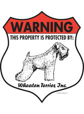 """Warning! Wheaten Terrier - Property Protected Aluminum Dog Sign - 7"""" x 8"""" (Badge"""