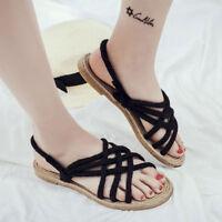 Womens Summer Sandal Espadrille Hemp Rope Woven Beach Shoes Casual Flip Flops