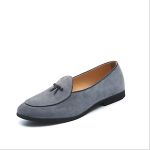Mens Slip On Belgian Dress Shoes Suede Slippers Flats Bowtie Loafers Pump Cosy