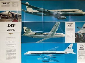 SAS SCANDINAVIAN AIRLINES 1960 BROCHURE CONVAIR 990 CARAVELLE DC8 ROUTE MAP