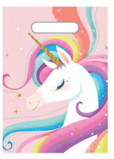 Unicorn Party Supplies 8 Pink Plastic Loot Lolly Treat Favour Bags Birthday NEW